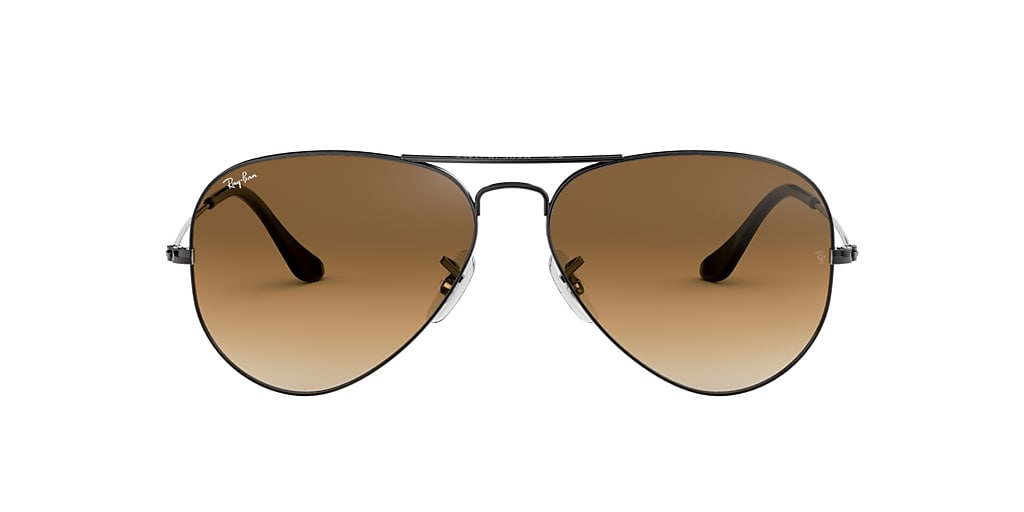 Gunmetal RB3025 AVIATOR GRADIENT Light Brown Gradient  62