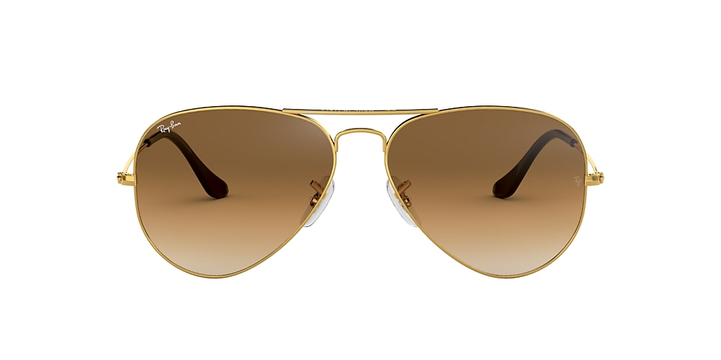 Gold RB3025 AVIATOR GRADIENT Light Brown  55