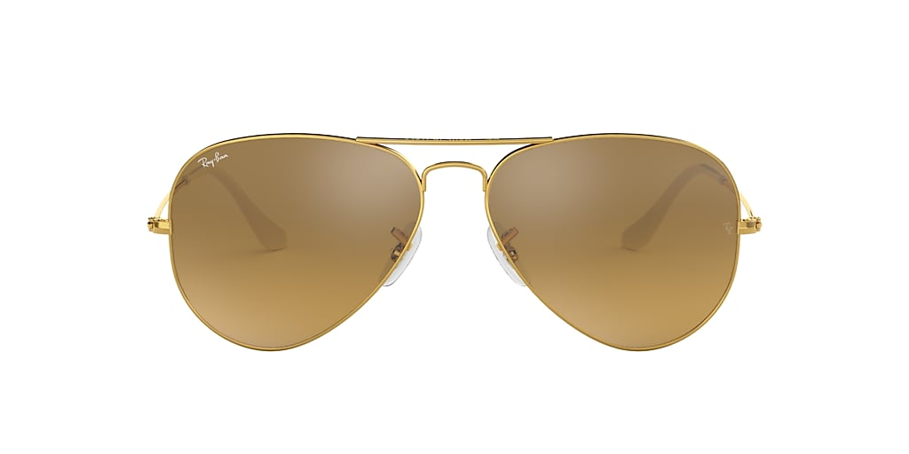 Gold RB3025 AVIATOR GRADIENT Brown/Silver Mirror  58