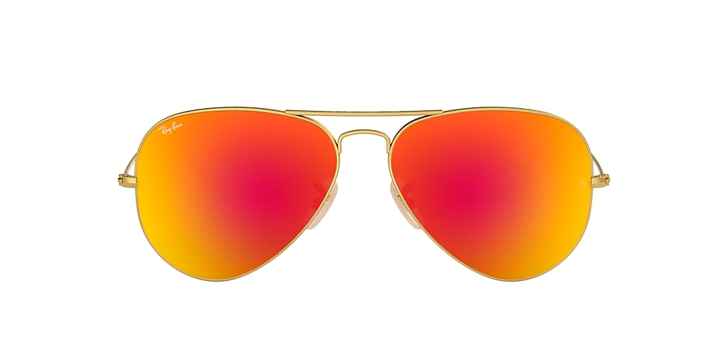 Gold RB3025 AVIATOR FLASH LENSES Orange  58