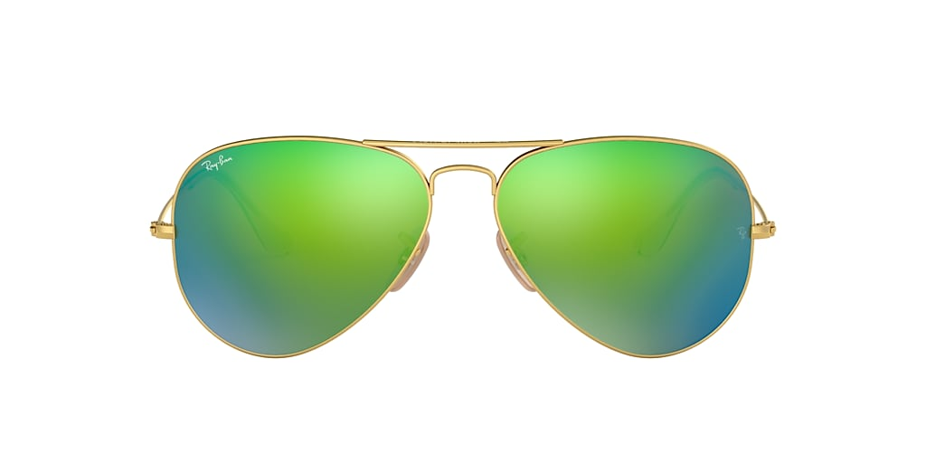 Gold RB3025 AVIATOR FLASH LENSES Green  62