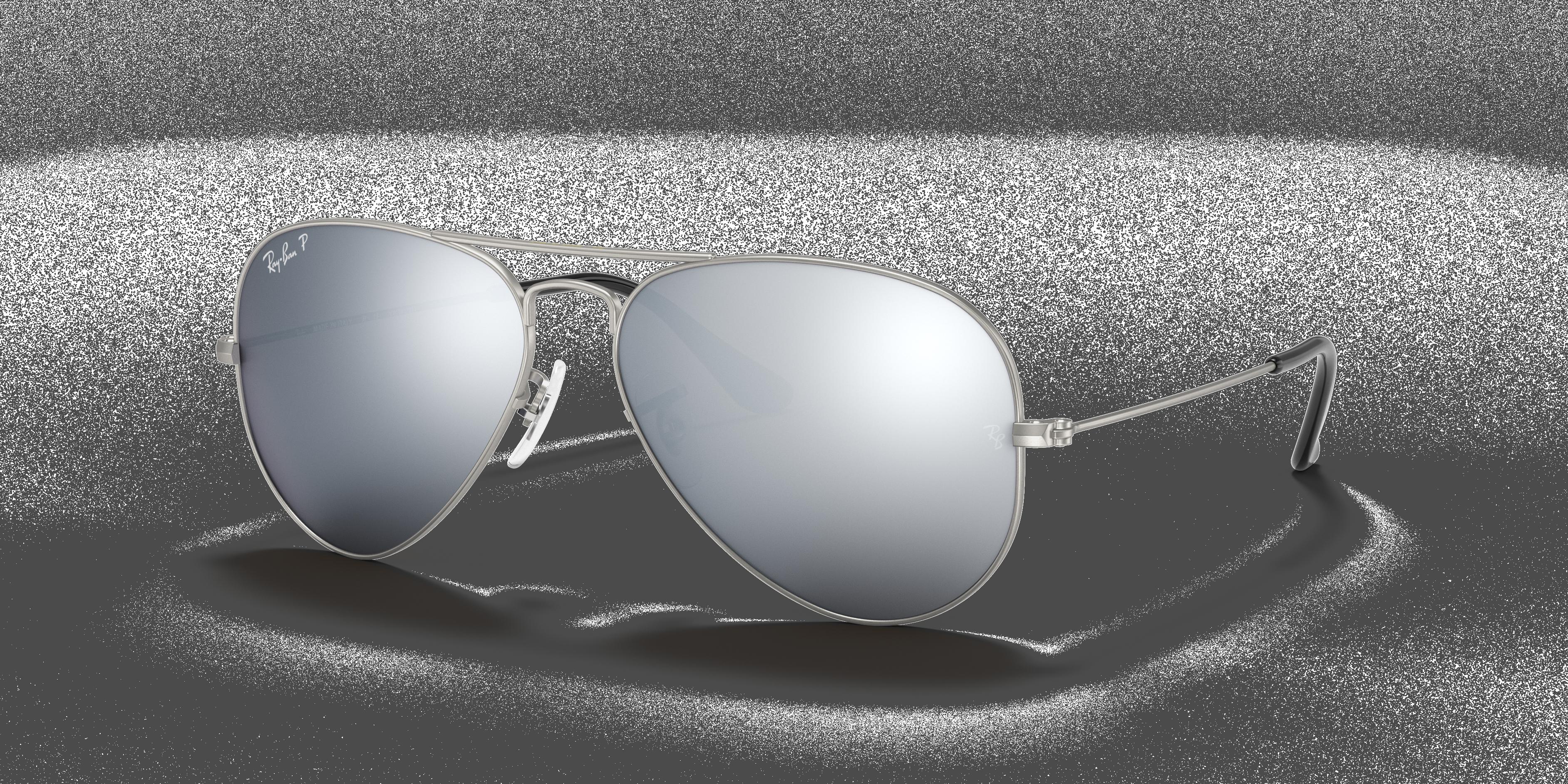 58 mm Silver//Grey Mirror RB3025 Aviator Classic Mirrored Sunglasses