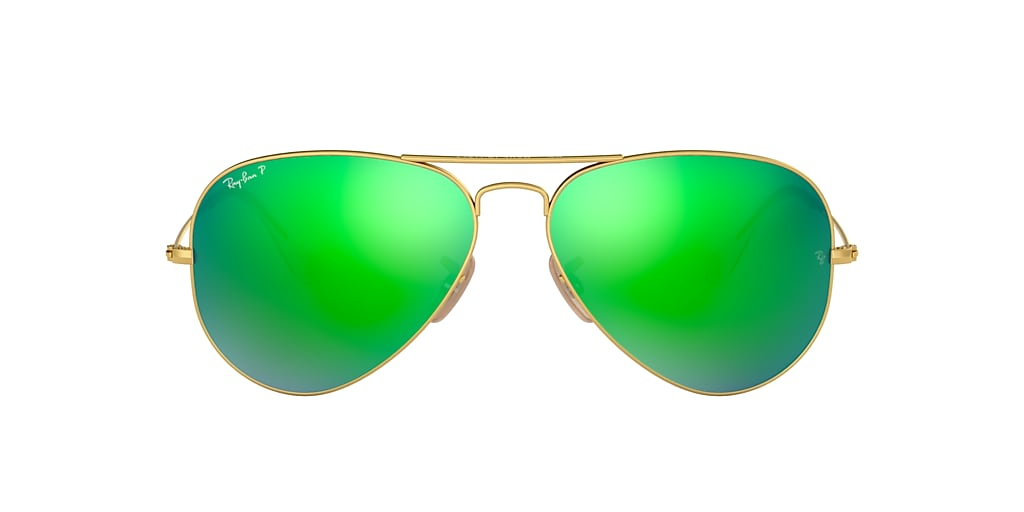 Gold RB3025 AVIATOR FLASH LENSES Polarized Green Flash  58
