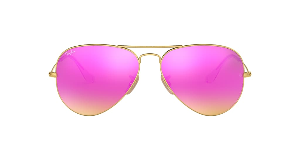 Gold RB3025 AVIATOR FLASH LENSES Green  58