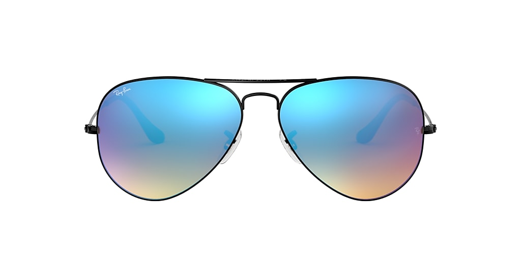 Black RB3025 AVIATOR FLASH LENSES GRADIENT Blue Gradient Flash  55