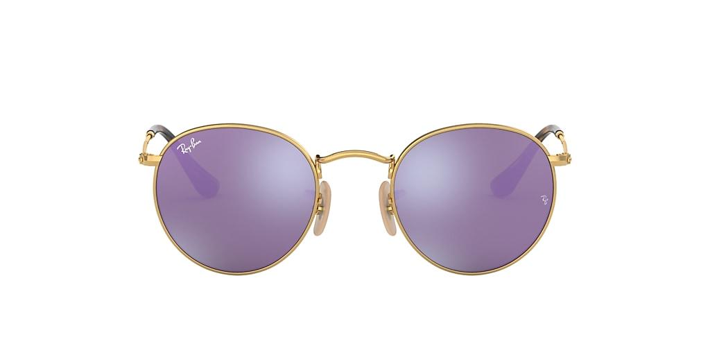Gold RB3447N ROUND FLAT LENSES Violet  50