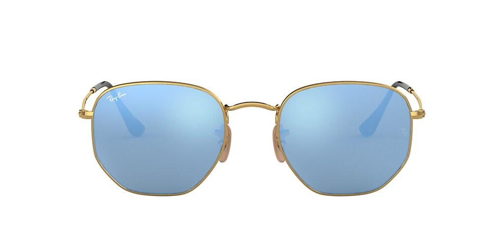 Gold RB3548N HEXAGONAL FLAT LENSES Light Blue Gradient Flash  48