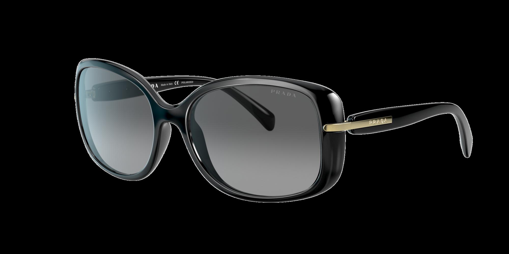 Prada PR 08OS Woman's Black Frame Sunglasses with Polarized Grey Gradient Lenses