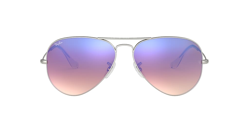 Silver RB3025 AVIATOR FLASH LENSES GRADIENT Blue  58