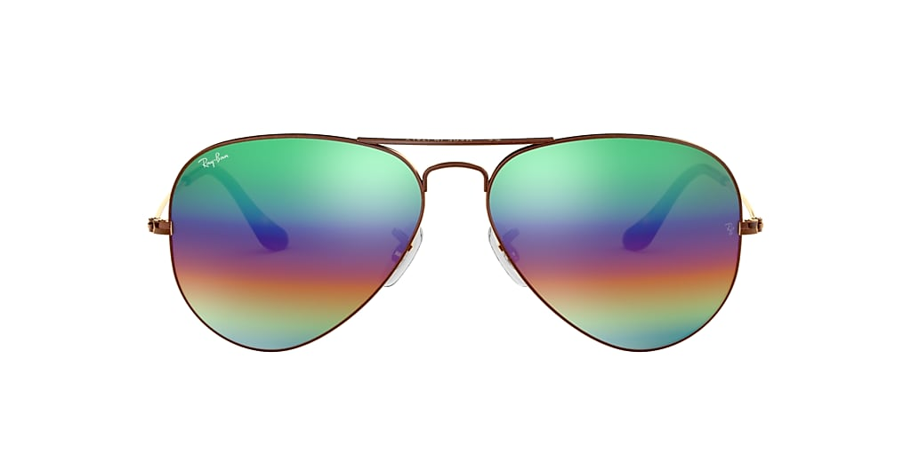 Bronze RB3025 AVIATOR MINERAL FLASH LENSES Green Rainbow Flash  62