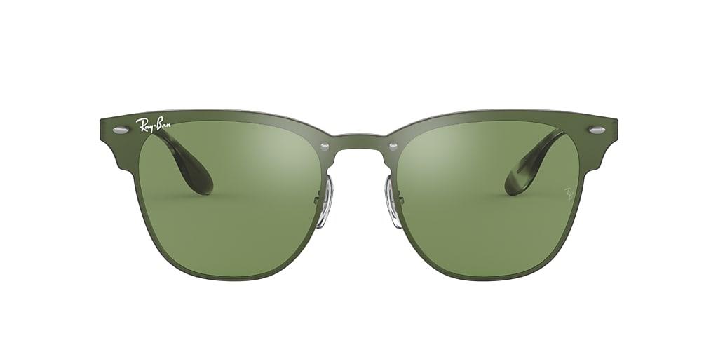 Silver RB3576N BLAZE CLUBMASTER Green  01