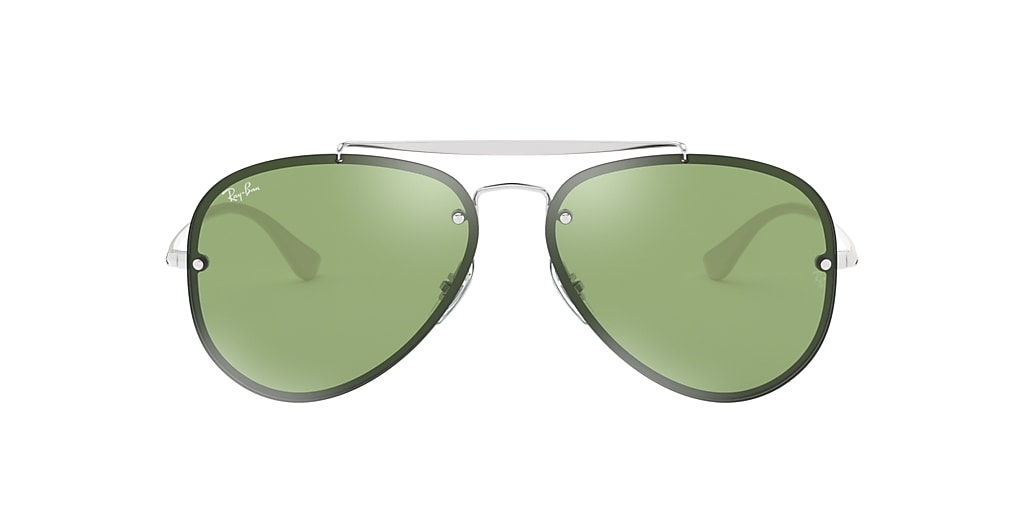 Silver RB3584N BLAZE AVIATOR Dark Green/Silver Mirror  58