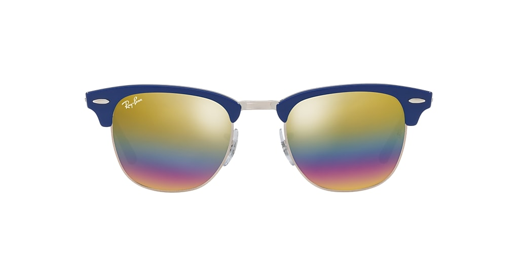 Blue RB3016 CLUBMASTER MINERAL FLASH LENSES Gold Rainbow Flash  51