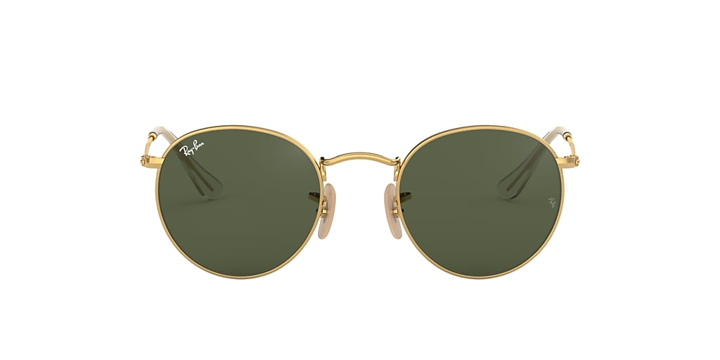 Gold RB3447N ROUND FLAT LENSES Green Classic G-15  53
