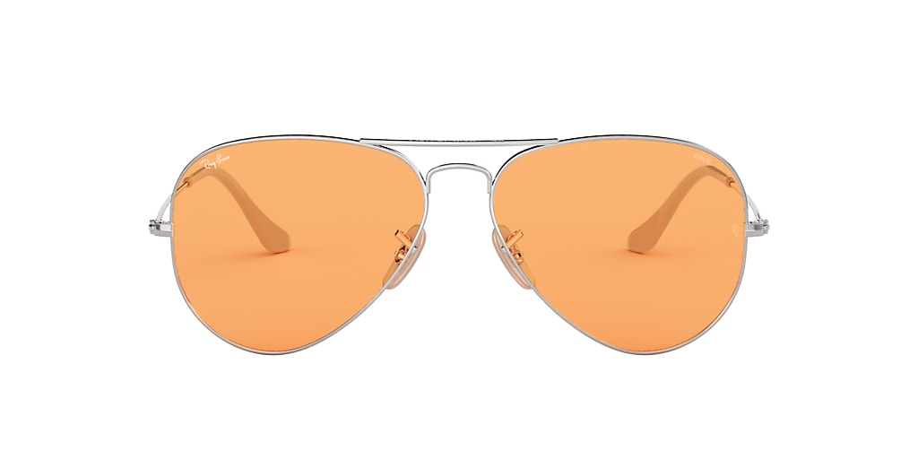 Silver RB3025 AVIATOR WASHED EVOLVE Orange  55